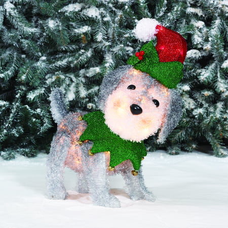 holiday time light up fluffy schnauzer christmas decoration - Light Up Christmas Decorations