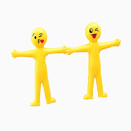 Creative Soft Glue Small Yellow Person Smiling Face Can Stretch Out Toy 2PCS