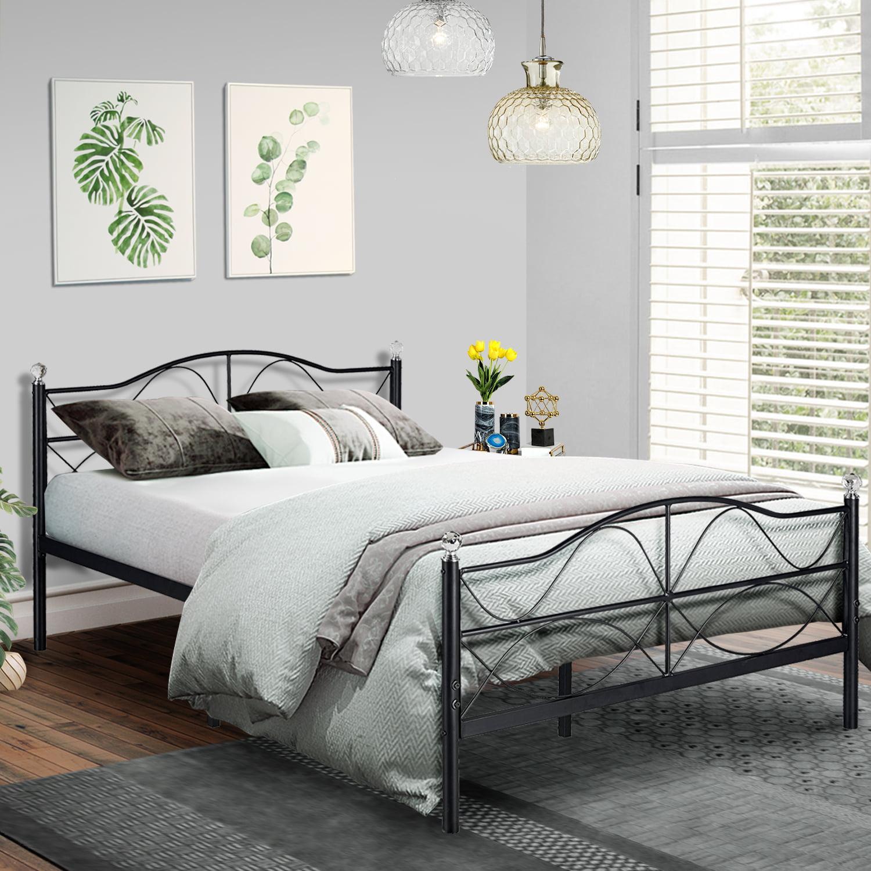 Queen Size Platform Bed Frame Metal Slats Support With Headboard Storage Easy Set Up Walmart Com Walmart Com