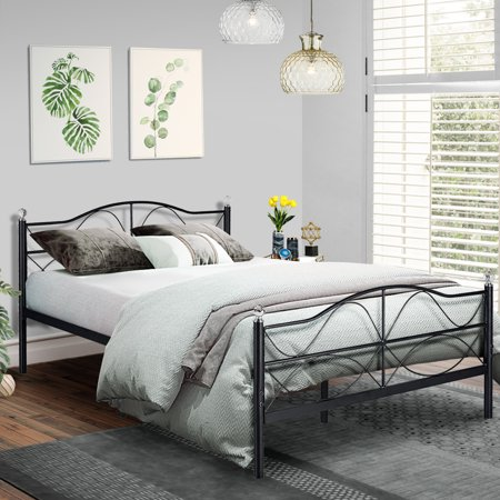 Queen Size Platform Bed Frame,Metal Slats Support with Headboard Storage,Easy Set (Outdoor Queen Size Bed)