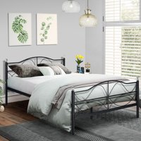 Queen Size Platform Bed Frame,Metal Slats Support with Headboard Storage,Easy Set up