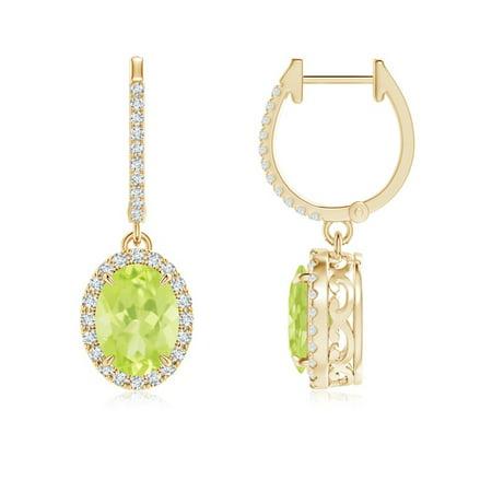 fae32b1021fdc9 Angara - August Birthstone Earrings - Oval Peridot Dangle Earrings with Diamond  Halo in 14K Yellow Gold (8x6mm Peridot) - SE1021PD-YG-A-8x6 - Walmart.com