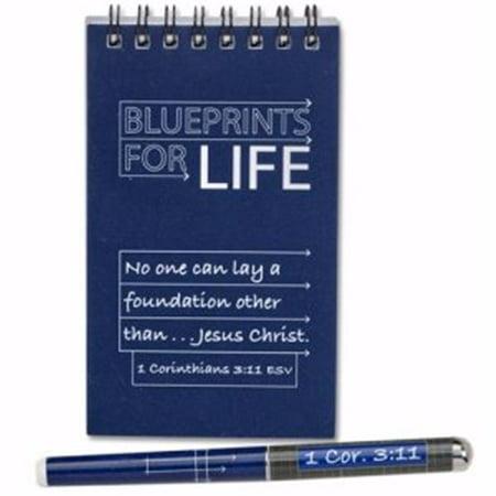 Christian Tools of Affirmation 151819 Blueprints for Life Notepad & Pen Set, Waterproof Notepad Pen Set