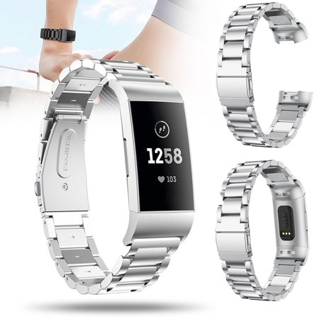EEEKit Watch Strap for Fitbit charge 3, Stainless Steel Watch Band Bracelet  for Fitbit charge 3, Replacement Strap Accessory