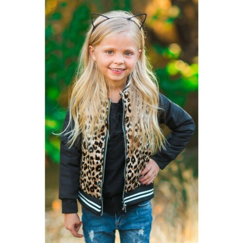 Toddler Kids Baby Girls Warm Leopard Print Outerwear Kids Winter Coat Clothes