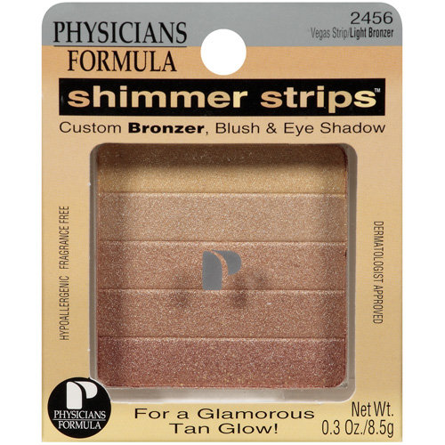 Physicians Formula Shimmer Strips Custom Bronzer, Blush and Eye Shadow, Vegas Strip/Light 2456