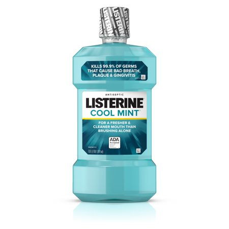 Listerine Cool Mint Antiseptic Mouthwash for Bad Breath, 1L