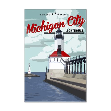 Indiana - Michigan City Lighthouse - Lantern Press Artwork (8x12 Acrylic Wall Sign) (Michigan City Lighthouse)