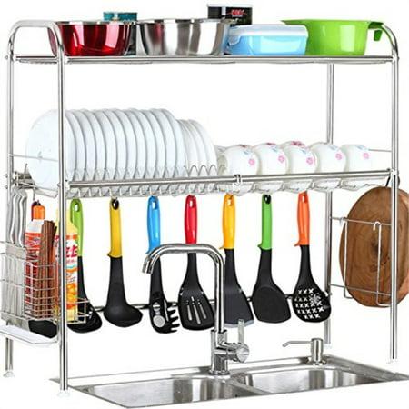 2Tier SUS304 Stainless Steel Adjustable Dish Drying Rack