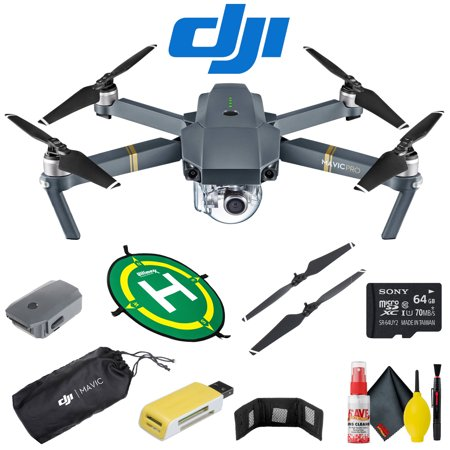 DJI Mavic Pro Quadcopter - Value Kit - Stabilized 12MP / 4K Camera, Up To 4.3 Mile Control Range and 27 Min. Flight Range - Extra Battery, Propellers and Memory
