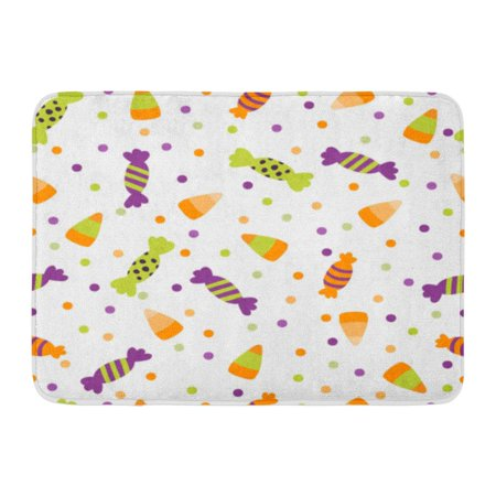 GODPOK Black Border of Halloween Trick Treat Candies Bright and Sweets in The Traditional Colors Colorful Cute Rug Doormat Bath Mat 23.6x15.7 inch - Halloween Sweets And Treats Ideas