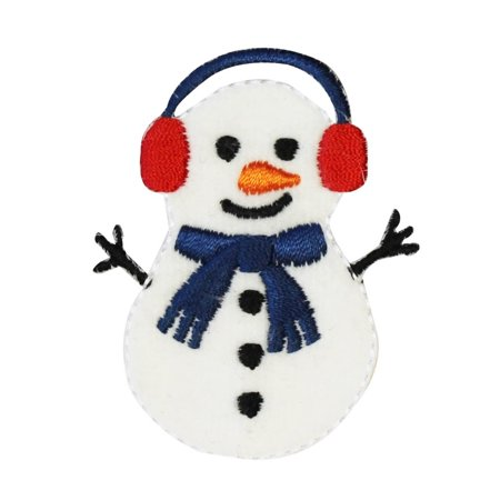 ID 8016 Felt Snowman Patch Christmas Winter Snow Embroidered Iron On Applique