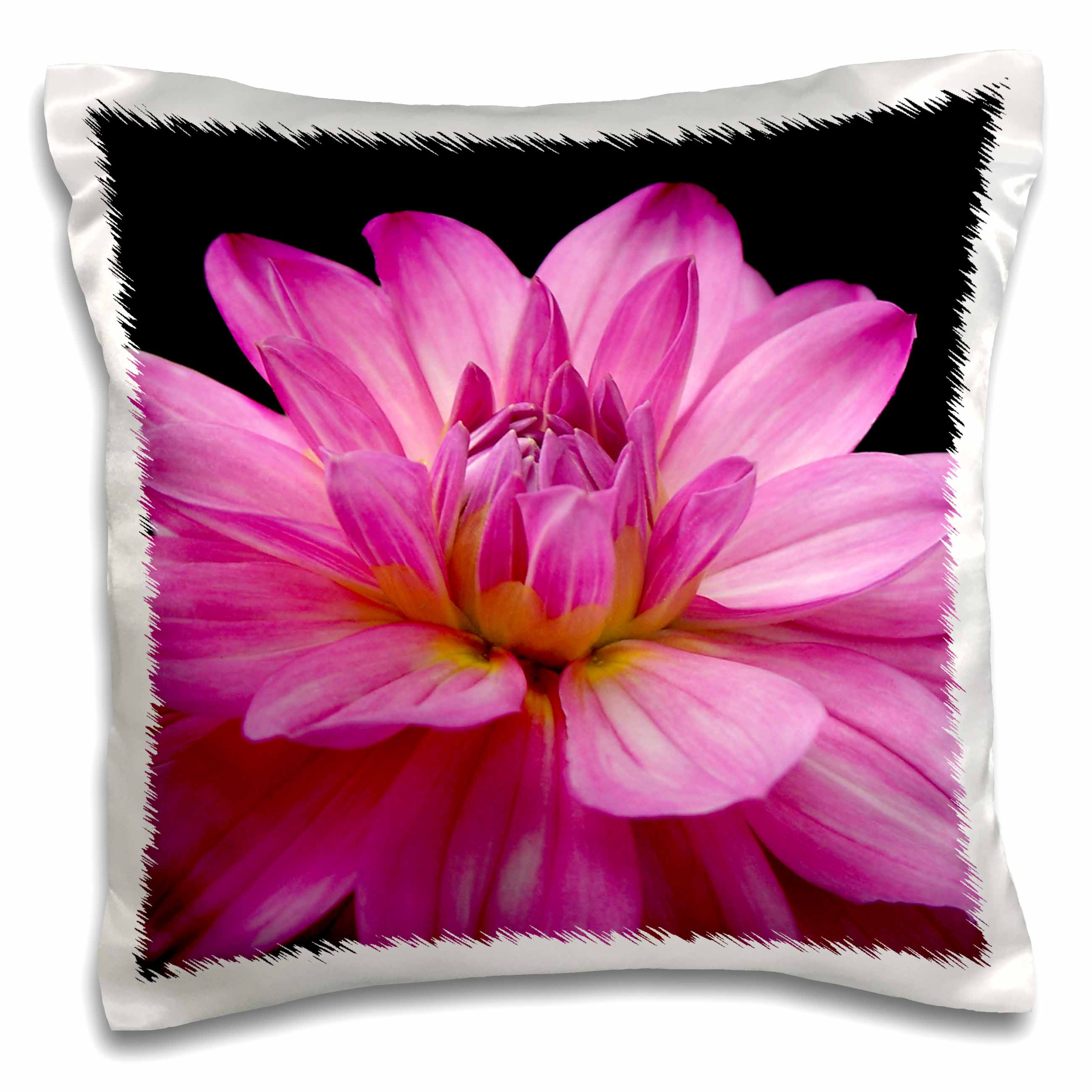 3dRose Pink Figurine Dahlia Flower, Pillow Case, 16 by 16-inch
