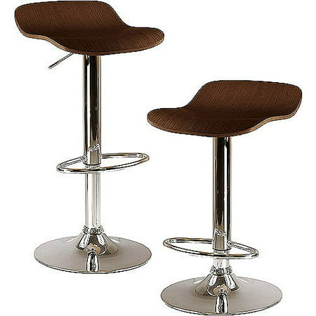 Set of 2 Kallie Air Lift Adjustable Stool, Cappuccino Wood Veneer Top and Metal Base - Cappuccino, Metal - Winsome
