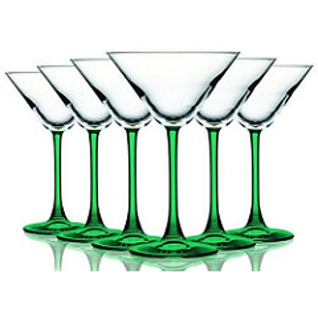 Emerald Green Martini/Cocktail Glasses with Beautiful Colored Stem - 10 oz. set of 6- Additional Vibrant Colors Available by TableTop King  - Orange Martini Glasses