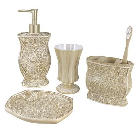 Victoria Bath Ensemble, 4 Piece Bathroom Accessories Set, Victoria Collection Bath Gift Set Features Soap Dispenser, Toothbrush Holder, Tumbler, Soap Dish
