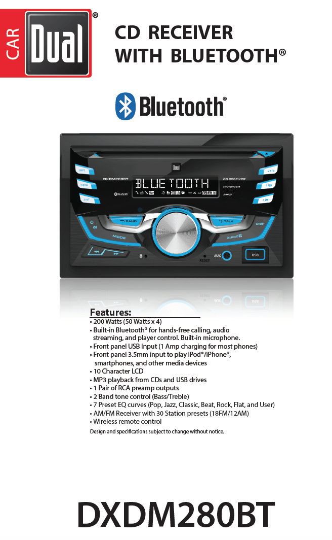 • dual electronics dxdm280bt multimedia lcd high resolution double din car  stereo receiver with built-in bluetooth, cd, usb, mp3 & wma player -  walmart com