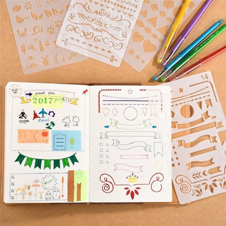 - 1PC Bullet Journal Stencil Set Plastic Planner DIY Drawing Template for Diary Notebook Scrapbook Craft Projects