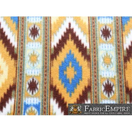 Fleece Fabric Printed ANTI PILL INDIAN AZTEC DAY DIAMOND IKAT DARK YELLOW AND BLUE