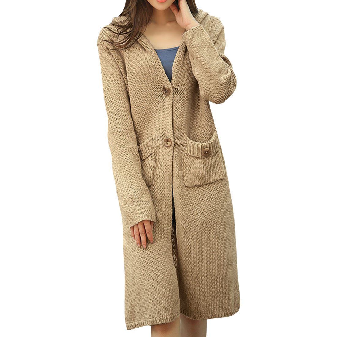 Allegra K Women's Buttoned Hooded Sweater Coat Beige (Size XS / 2)