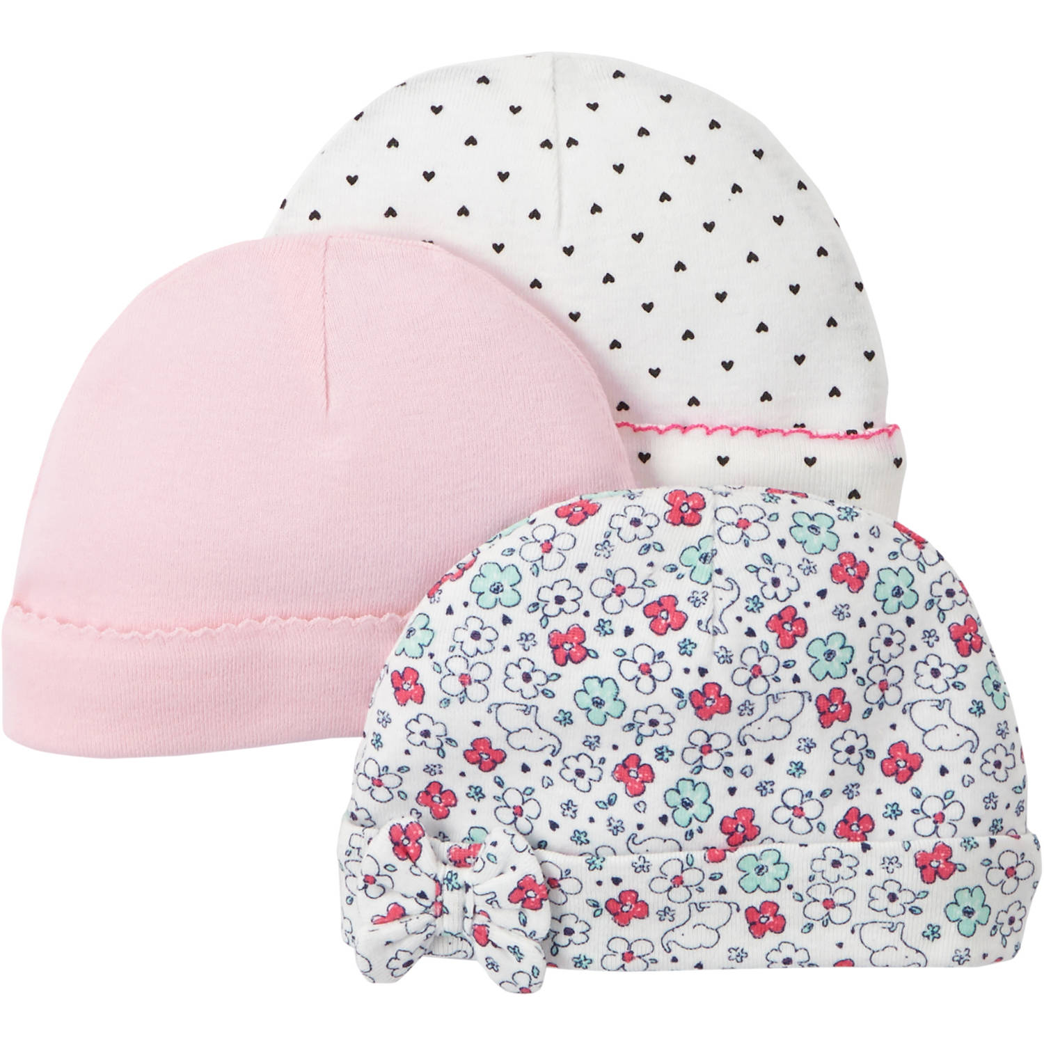 Child Of Mine by Carter's Newborn Baby Girl Cap, 3 Pack