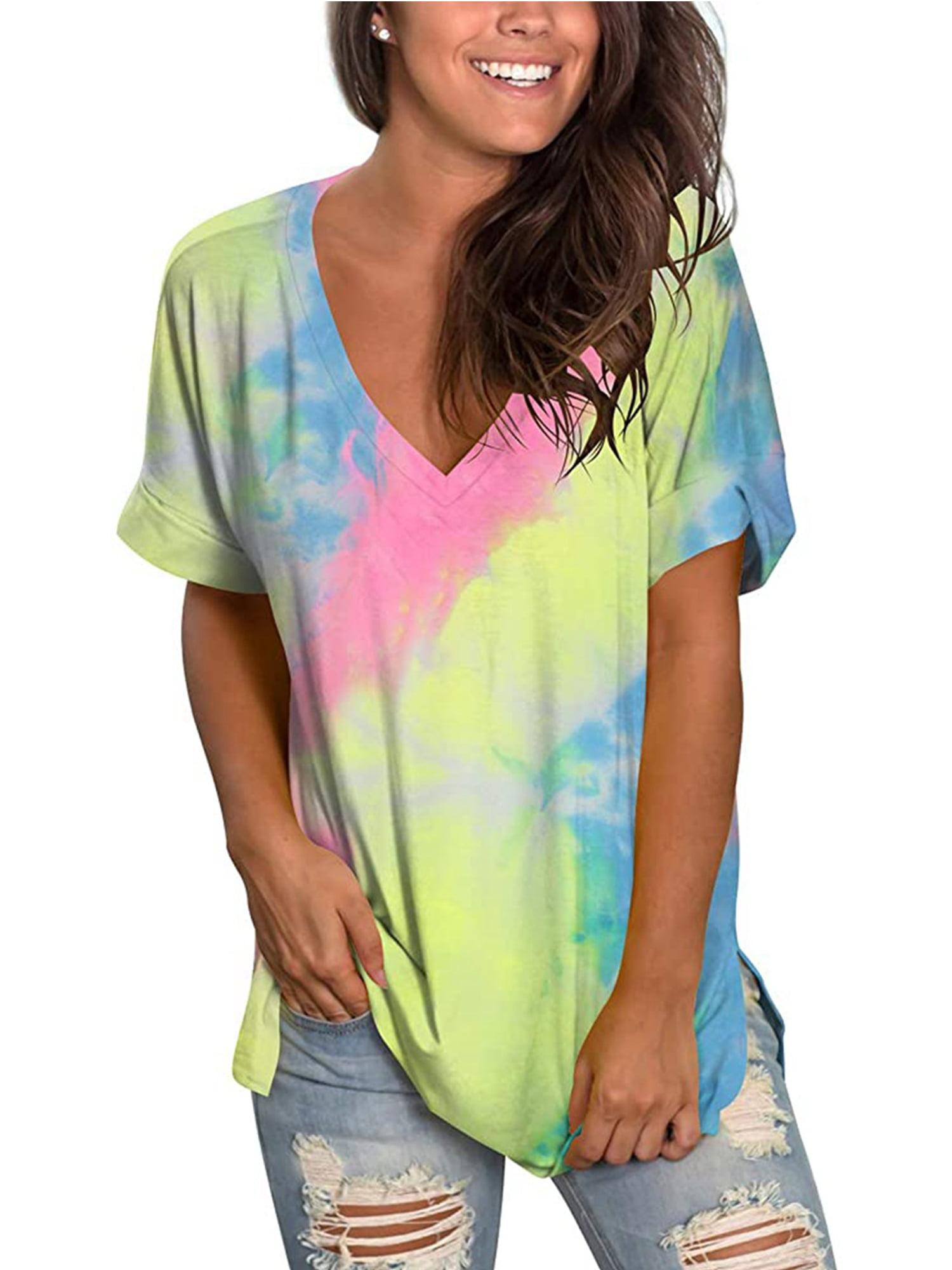 Tops Blouse Women Gradient Loose Tunic Casual V Neck T Shirt Short Sleeve Summer