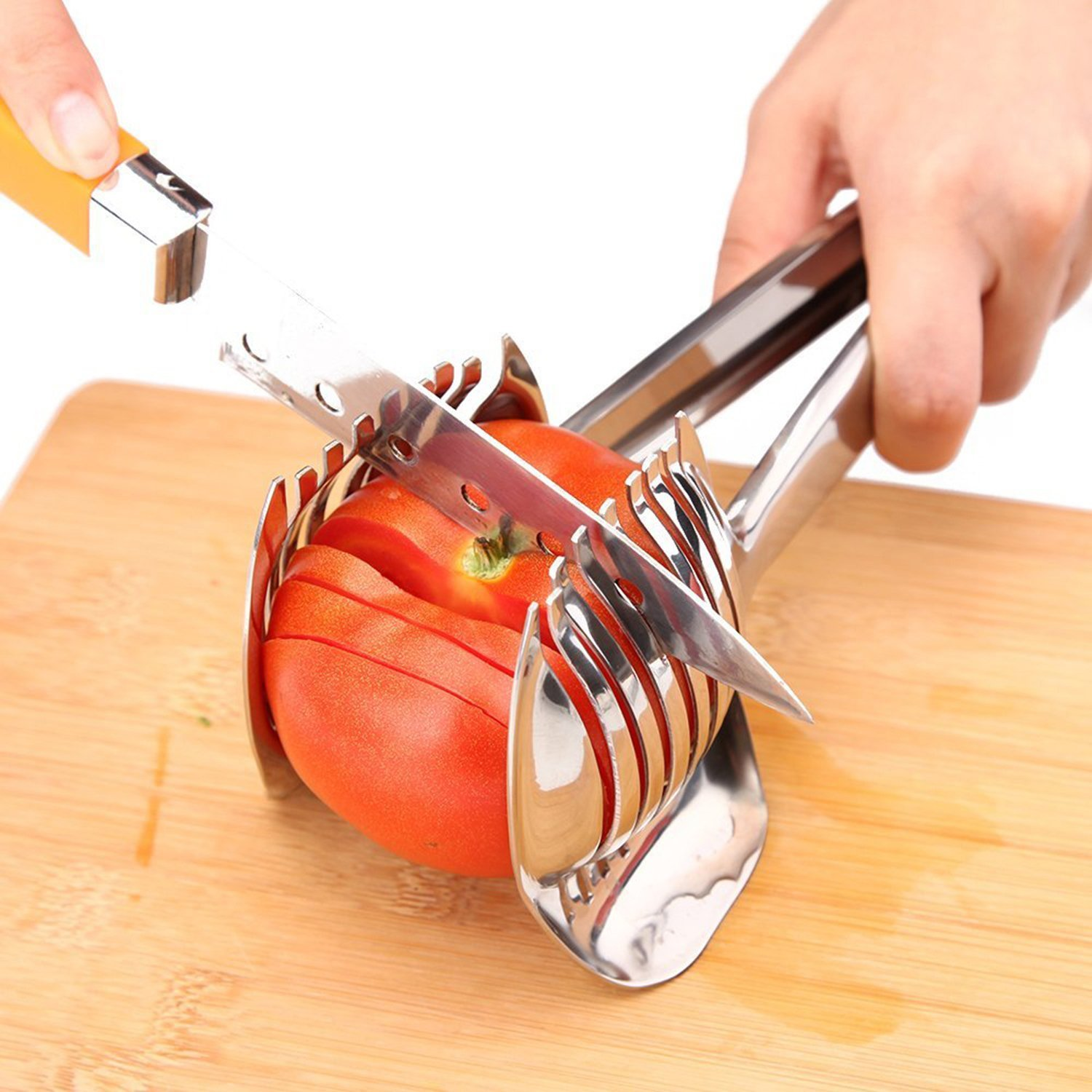 Tomato Slicer Lemon Cutter Multipurpose Handheld Round Fruit Tongs Stainless Steel Onion Holder Easy Slicing Kiwi Fruits & Vegetable Tools Kitchen Cutting Aid Gadgets Tool