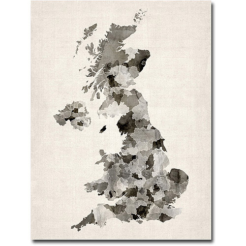 "Trademark Art ""UK Watercolor Map"" Canvas Wall Art by Michael Tompsett"