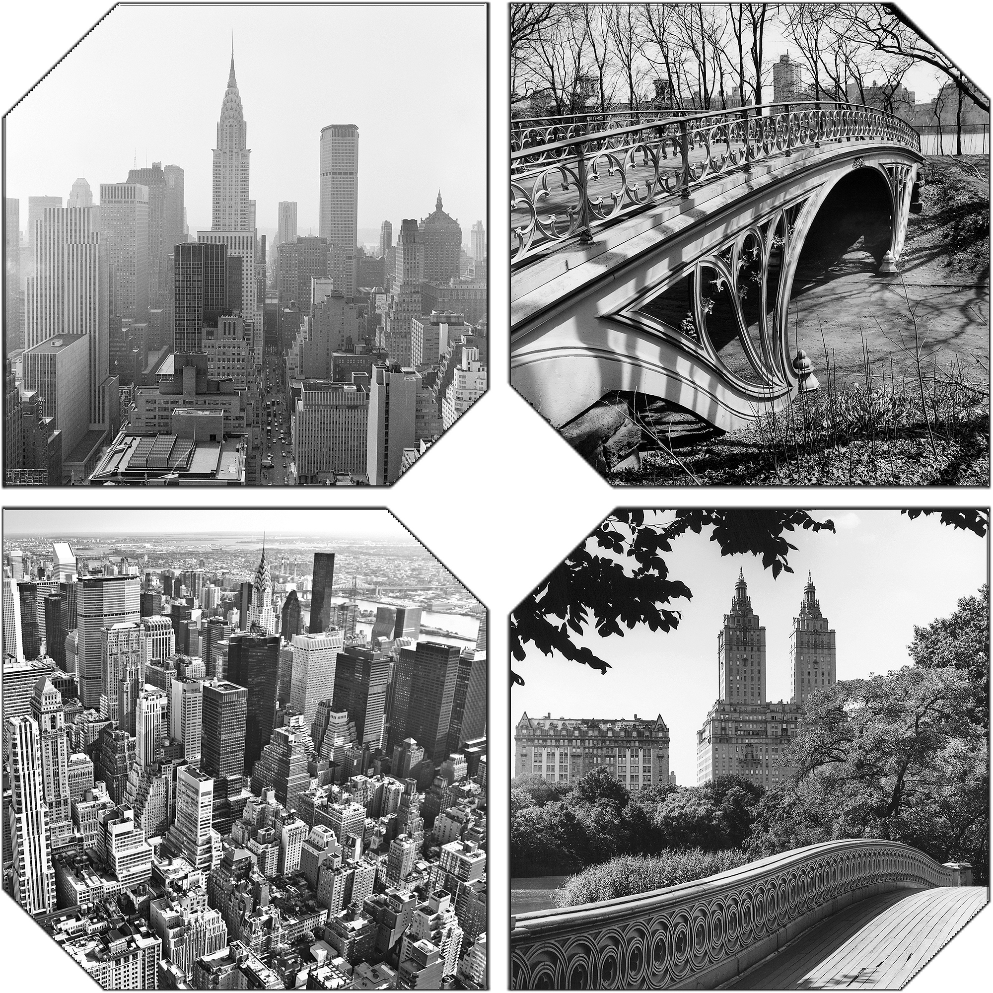 City Landscape Scenes B/W 4-Pack Canvas Wall Art, 23  x 23