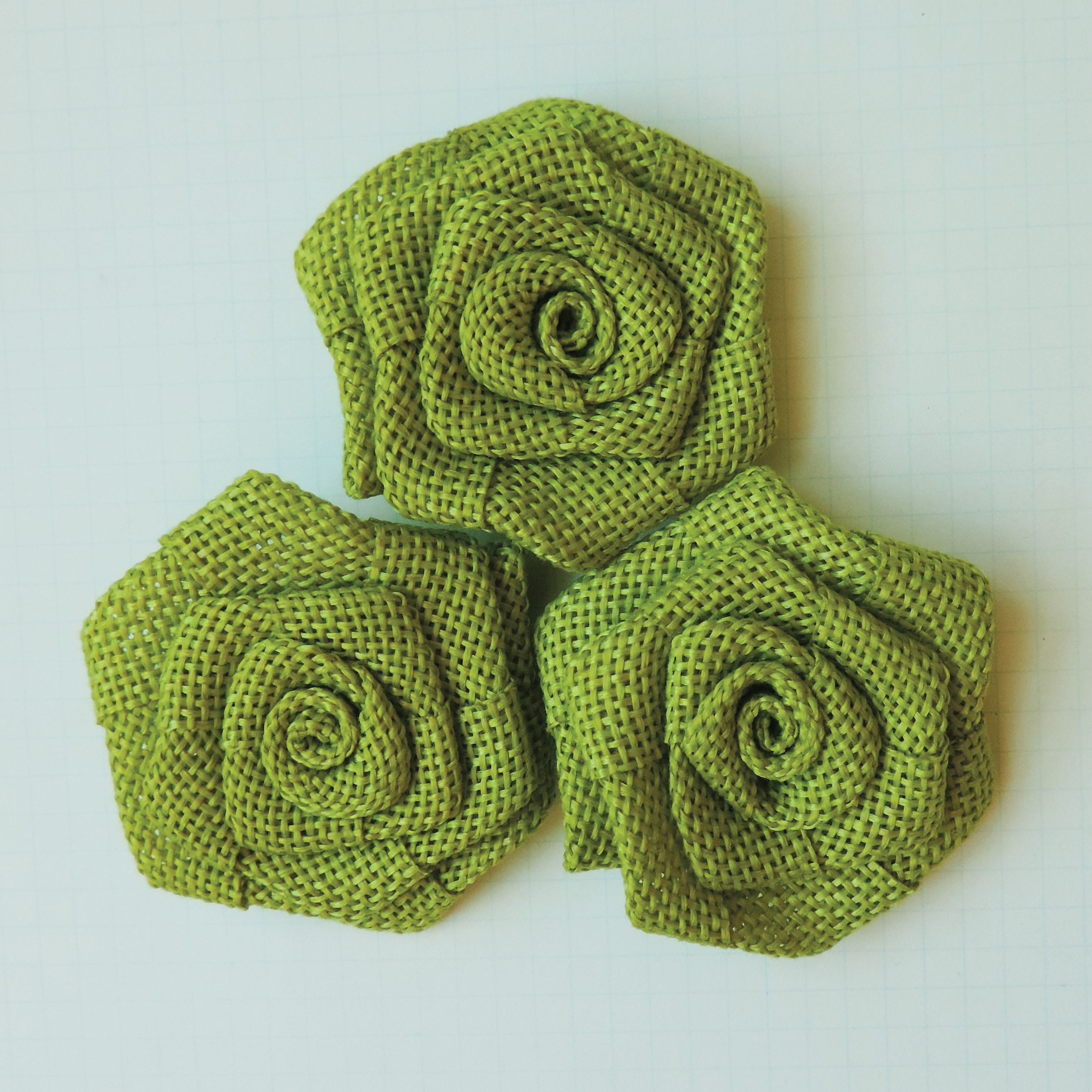 Maya Road Vintage Linen Burlap Roses, 2-Inch, Lime, 3-Pack Multi-Colored