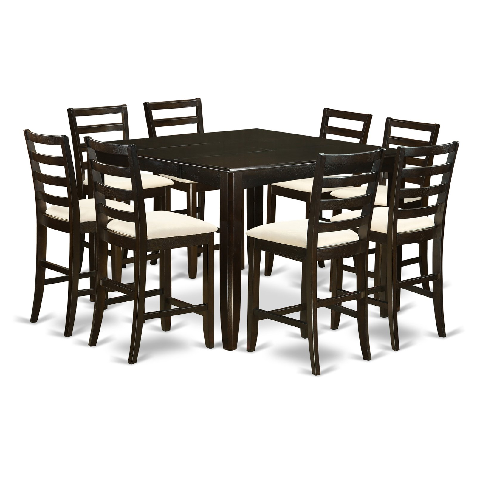 East West Furniture Fairwinds 9 Piece Ladder Back Dining Table Set