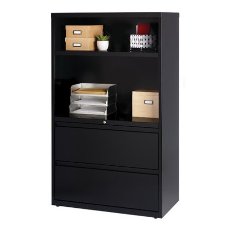 Hl8000 Series 36 Inch Wide 2 Drawer Combo Shelf Lateral File Cabinet Black