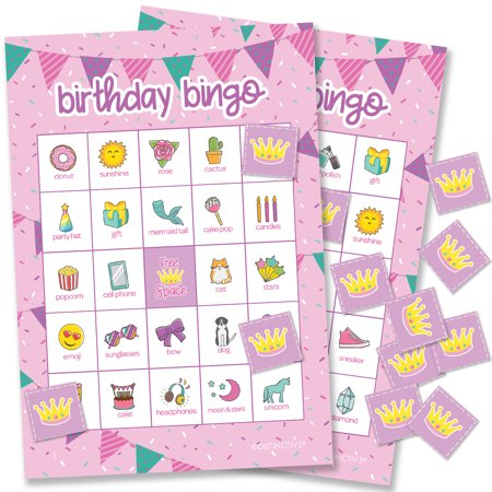 Indoor Birthday Party Games (Girl Birthday Bingo for Kids | 24 Players | Birthday Party Games Supplies | 24 Bingo Cards with)