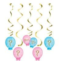 Creative Converting Gender Reveal Balloons Dizzy Danglers, 5 ct