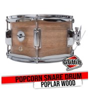 """GRIFFIN Snare Drum - Popcorn Soprano Firecracker 10"""" x 6"""" Poplar Wood Shell with Oakwood PVC - Concert Percussion Musical Instrument with Drummers Key and Snare Strainer Beginner & Professional"""