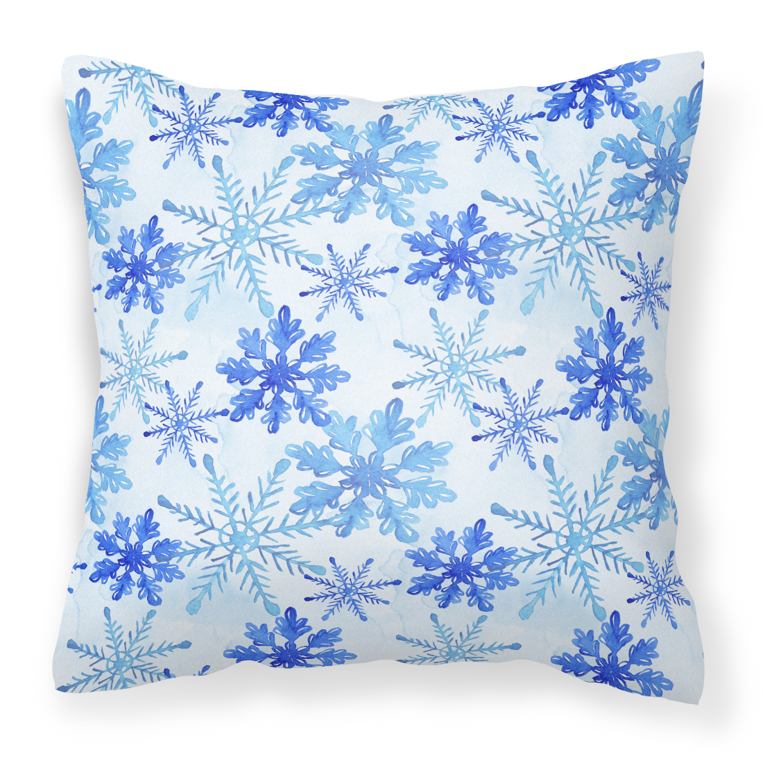 Blue Snowflakes Watercolor Fabric Decorative Pillow BB7484PW1818