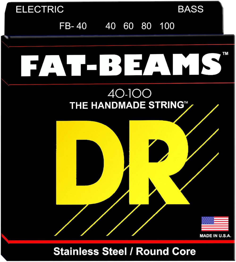DR Strings Fat-Beams Stainless Steel Lite 4-String Bass Strings (40-100) by DR Strings