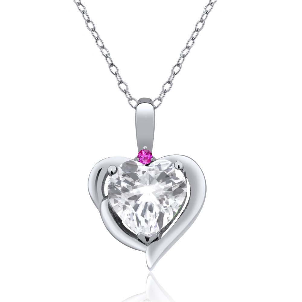 2.02 Ct Heart Shape White Topaz Pink Sapphire 18K White Gold Pendant by