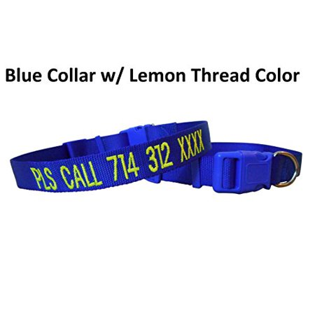 Mix Paws TM - Personalized Customized Embroidered Dog Name Adjustable Nylon Collar & 6FT Matching Color Nylon Leash/Lead (Personalized Dog Collar)