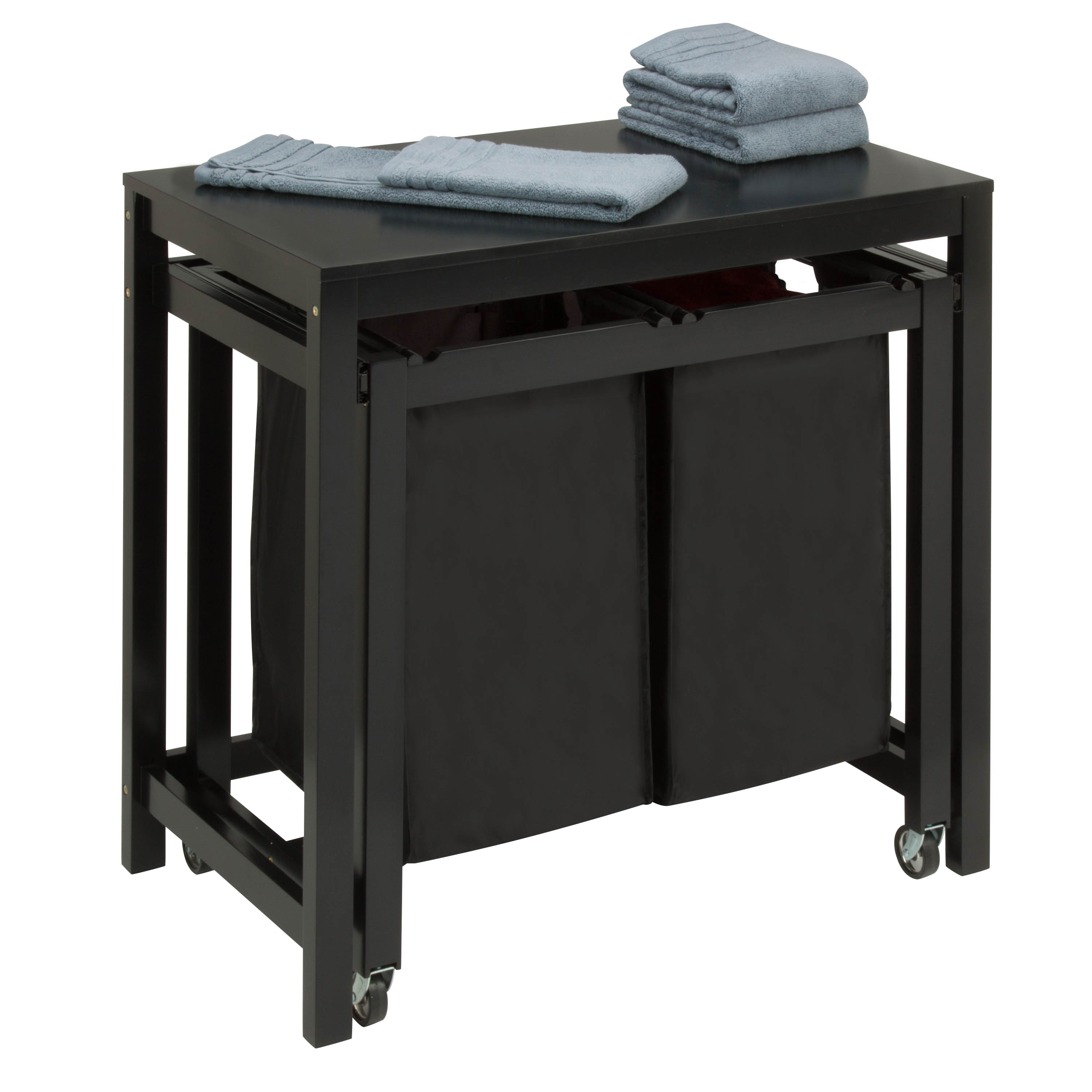 - Honey Can Do Wood Laundry Sorter And Folding Table With 2 Bags