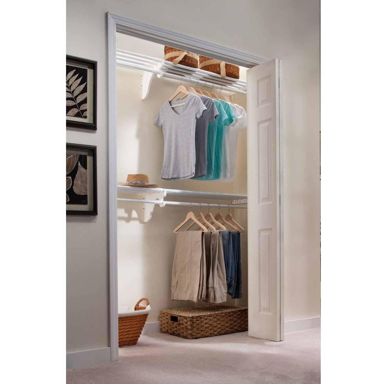 EZ Shelf 12' Closet Organizer Kit, Up to 12.2' of Hanging and Shelf Space, White