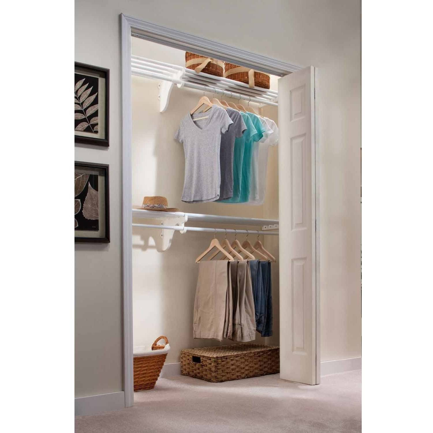 EZ Shelf 12' Closet Organizer Kit, Up to 12.2' of Hanging and Shelf Space, White