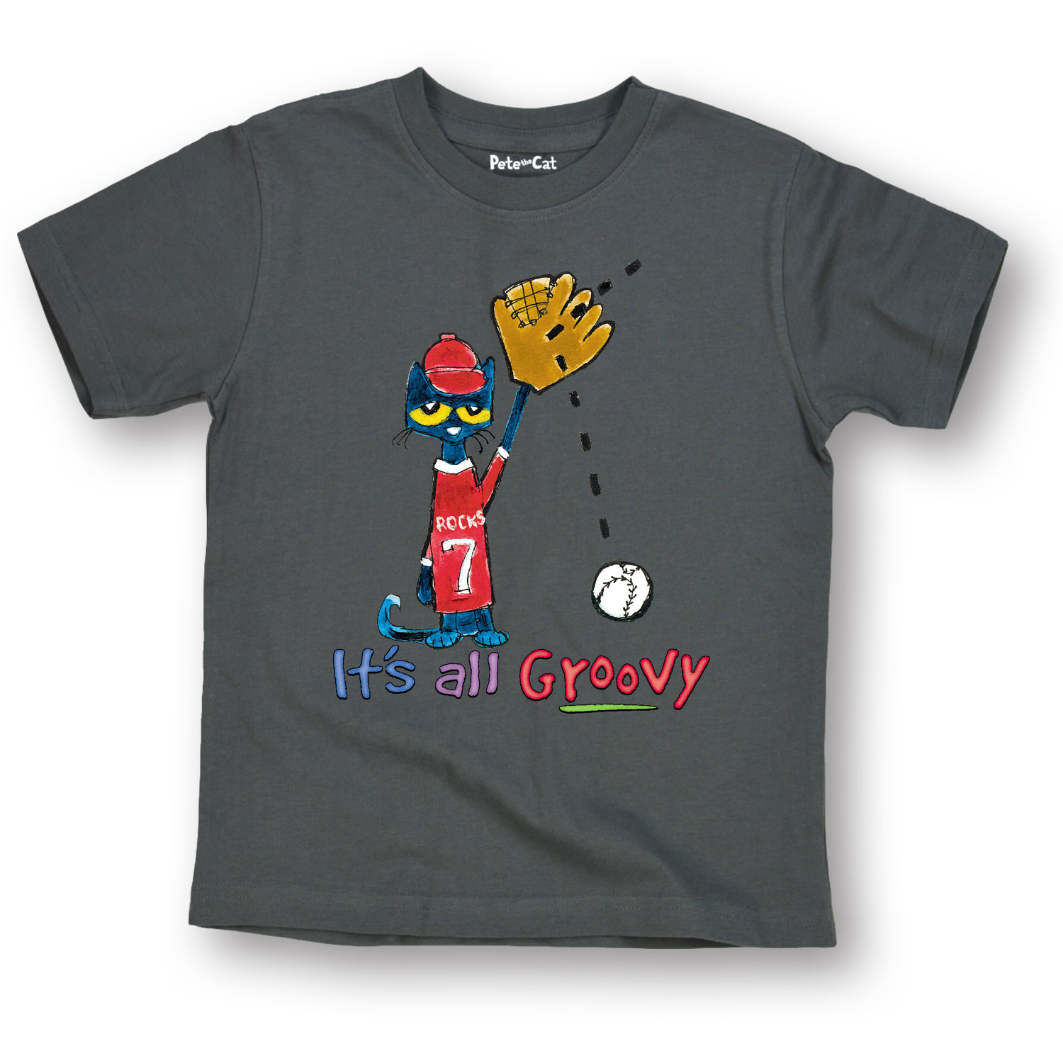 Pete the Cat Officially Licensed Book Character Baseball All Groovy Youth Tee
