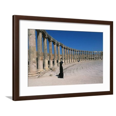 Roman Forum, Columns with Ionic Capitals, Archaeological Site, 1st Century Ad, Jerash, Jordan Framed Print Wall Art - Plastic Roman Columns For Sale
