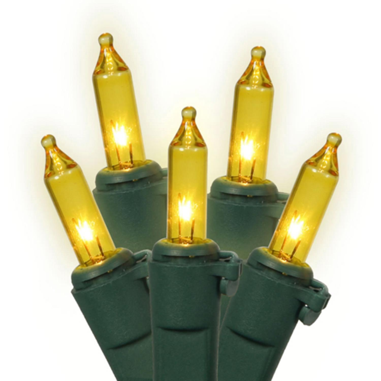 Set of 150 Heavy Duty Yellow Mini Christmas Lights - Green Wire Connect 6