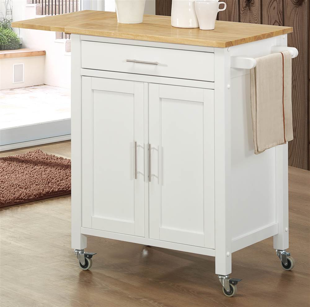 Vermont Kitchen Cart in White and Natural Finish