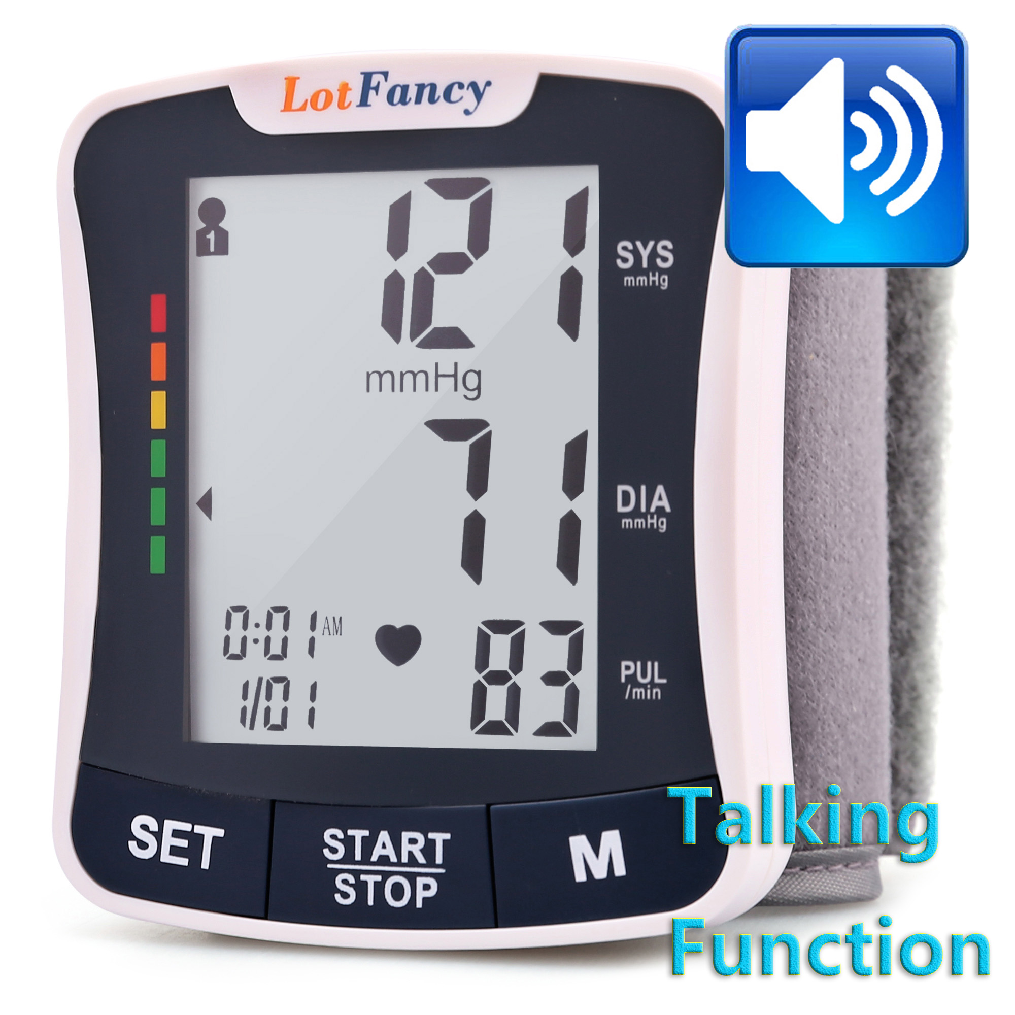 Wrist Blood Pressure Monitor Cuff - Automatic Digital BP Machine with Talking Function