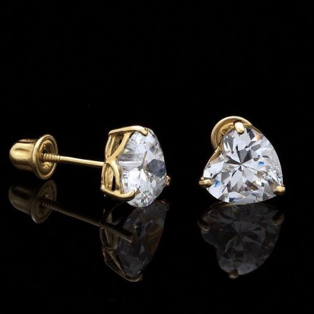 .50Ct Created Diamond Heart Shaped 14K Yellow Gold Screwback Stud Earrings 4mm