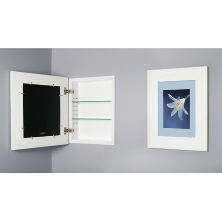 13x16 White Picture Frame Medicine Cabinet, a recessed concealed medicine cabinet that you decorate yourself (Available in White, Black, Espresso, Silver, Unfinished and more!) - Silver And Black