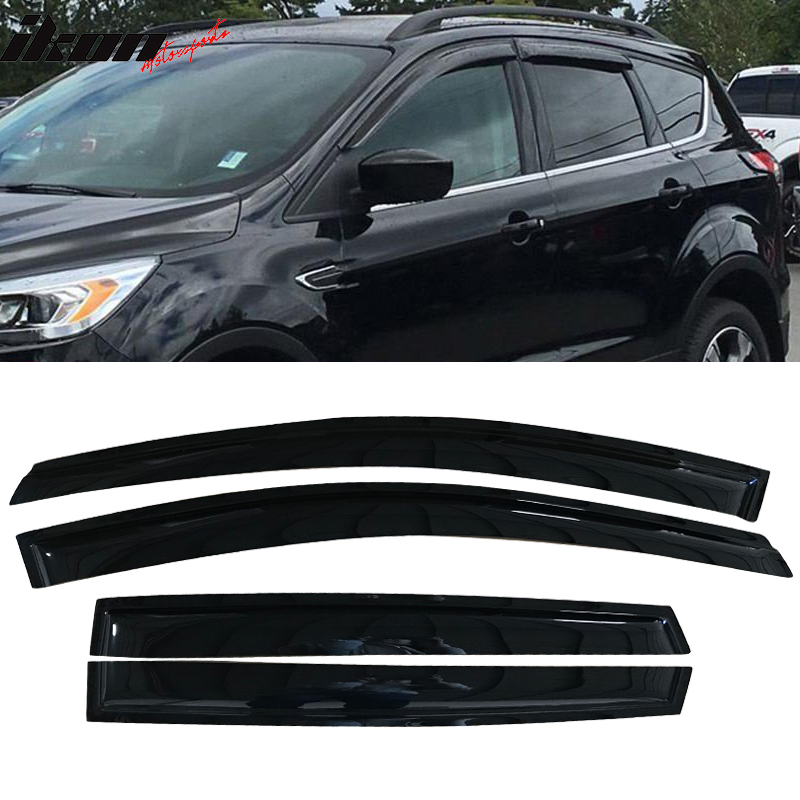 AUTEX 4Pcs Tape On Window Visor Deflector Compatible with Ford Escape 2013 2014 2015 2016 2017 2018 Weather Shade Rain Guards